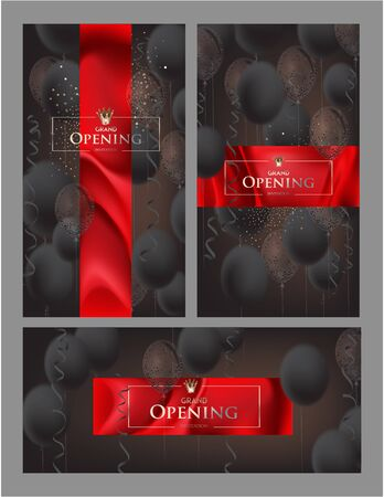Grand opening invitation banners with dark air balloons and serpentine. Vector illustration Ilustração