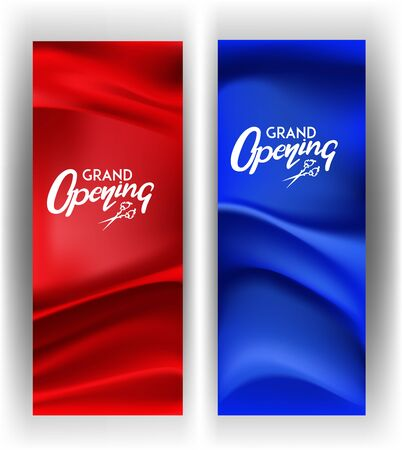 Grand opening invitation cards with fabric texture on the background. Vector illustration