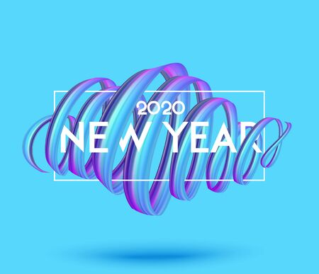 New year 2020 poster with levitating colorful ribbon and frame. Vector illustration