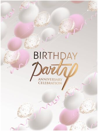 Birthday party invitation cars with levitation air balloons and serpentine. Vector illustration