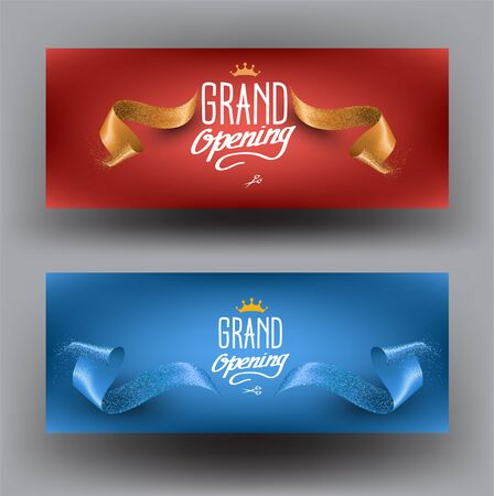 Elegant grand opening invitation banners with curly cut ribbons. Vector illustration