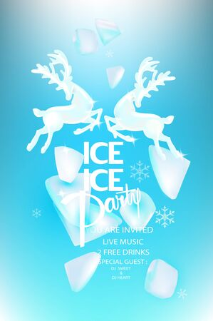 Ice party banner with ice rock pieces and reindeers. Vector illustration Ilustração