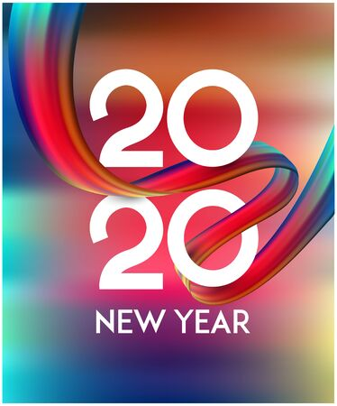 New year 2020 background with colorful levitating ribbon and numbers. Vector illustration Ilustração