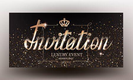 Elegant invitation card with sparkling background and golden lettering and vintage frame. Vector illustration Ilustração