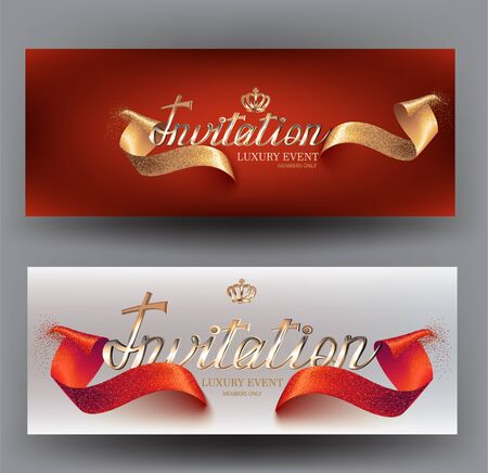 Elegant invitation cards with curly texture ribbons. Vector illustration