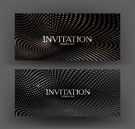 Gold and silver invitation cards with halftone effect pattern. Vector illustration Ilustração