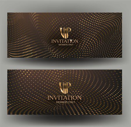 Gold vip invitation cards with halftone texture background. Vector illustration