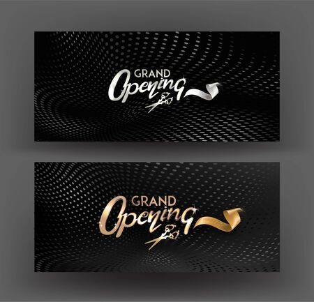 Grand opening invitation cards with lettering and halftone effect background. Vector illustration