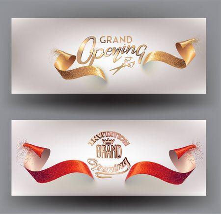 Cartes d'invitation d'inauguration avec des rubans étincelants. Illustration vectorielle Vecteurs