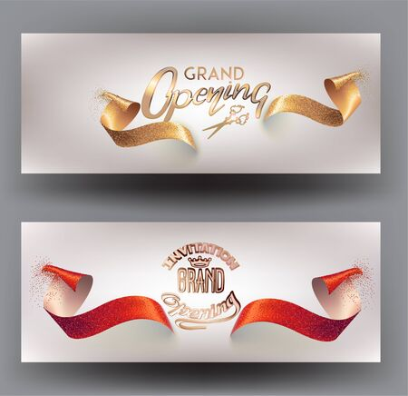 Grand opening invitation cards with sparkling ribbons. Vector illustration Vector Illustratie