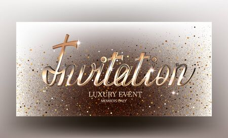 Invitation card with with gold letters and sparkling shiny background. Vector illustration Ilustração