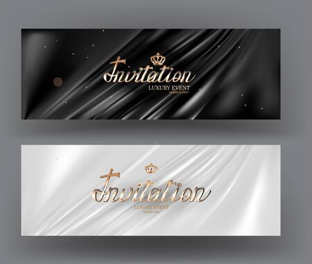 Invitation cards with pleated fabric on the background and gold letters. Vector illustration