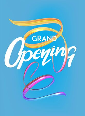 Grand opening poster with levitating ribbons and lettering. Vector illustration