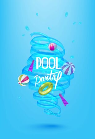 Pool party poster with swimming pool design objects and whirlpool. Vector illustration