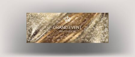 Grand event elegant invitation card with bokeh and pleated fabric. Vector illustration