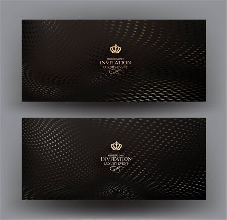 VIP invitation cards with halftone effect background. Vector illustration