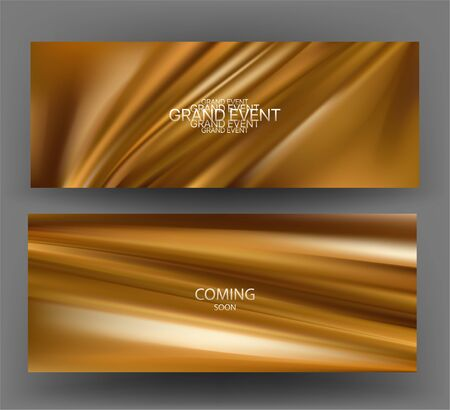 Banners with gold silk fabric on the background. Vector illustration Ilustração