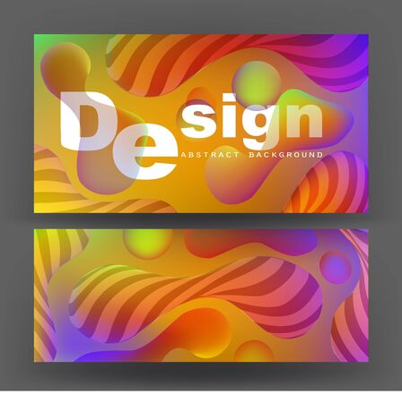 Abstract banners with liquid colorful and stripped elements. Vector illustration