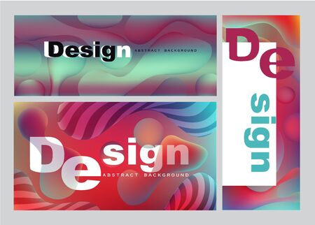Abstract banners with liquid colorful elements. Vector illustration