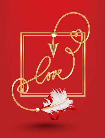 Gold curly arrow of love in a gold frame. Vector illustration