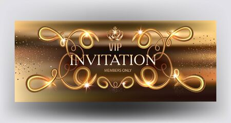 Gold sparkling invitation card with volume swirls. Vector illustration