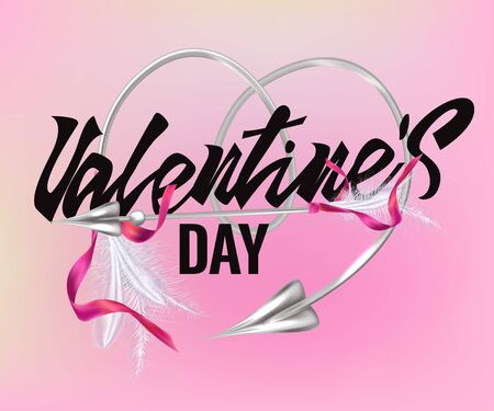 Valentines day greeting card with arrows of love and lettering. Vector illustration