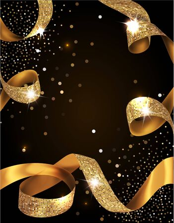 Elegant VIP invitation card with silk textured curled gold ribbons Ilustración de vector
