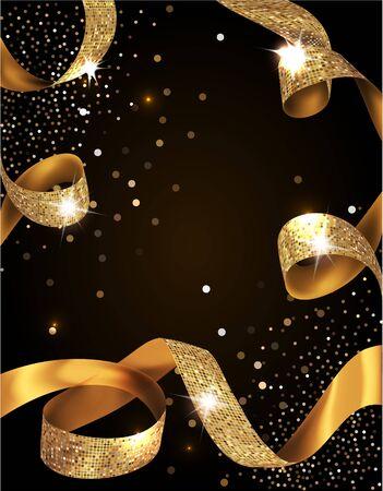 Elegante tarjeta de invitación VIP con cintas doradas rizadas con textura de seda Ilustración de vector