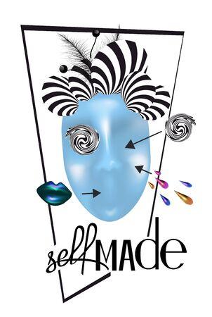 Selbstgemachter Slogan und abstraktes Frauengesicht. T-Shirt-Design. Vektor-Illustration Vektorgrafik