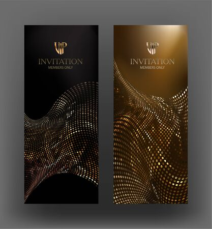VIP vertical cards with fabric made from metallic circles. Vector illustration Vetores