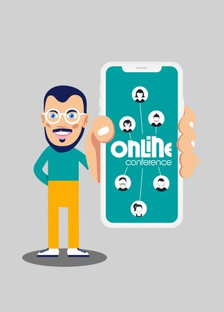 Young smiling man demonstrate Online conference concept in his mobile phone. Vector illustration