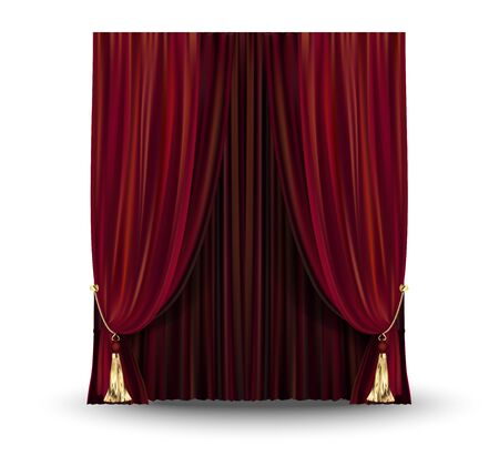 Decorative elegant red curtain background. Vector illustration