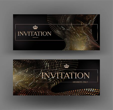 Elegant golden banners with abstract design elements made from metallic circles. Vector illustration