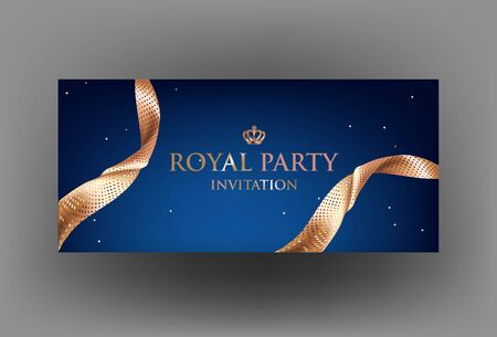 Elegant blue card with sparkling ribbons and crown. Vector illustration