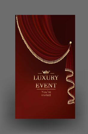 Elegant invitation card with red beautiful curtain with gold fringe. Vector illustration