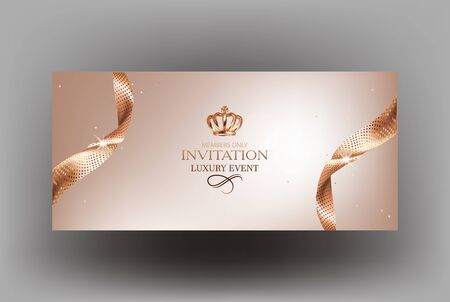 Elegant invitation card with sparkling gold ribbons and crown. Vector illustration
