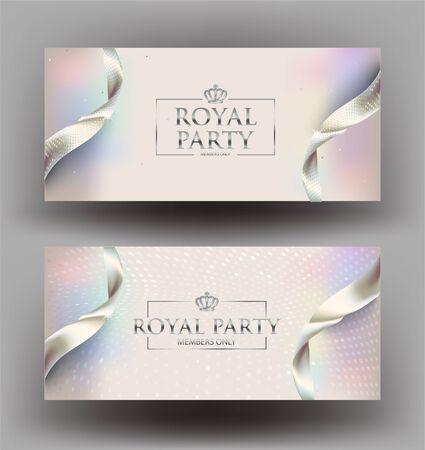 Elegant invitation cards with pearl ribbons. Vector illustration Illusztráció