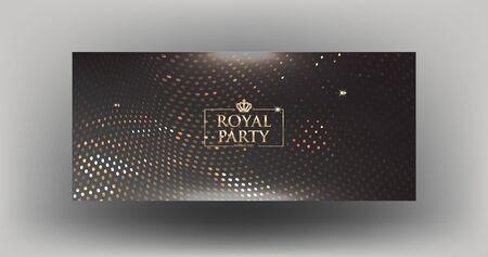Elegant royal party invitation card with sparkling gold pattern. Vector illustration