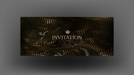 Elegant VIP invitation banner with golden pattern made from metallic circles. Vector illustration Stock fotó - 146742019