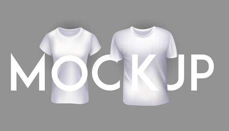 Female and male t-shirt mockups. Vector illustration