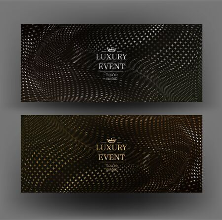 Gold and silver elegand invitations with wavy diamond pattern. Vector illustration Illusztráció