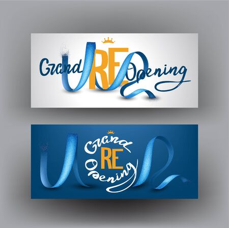 Grand opening banners with sparkling ribbons. Vector illustration
