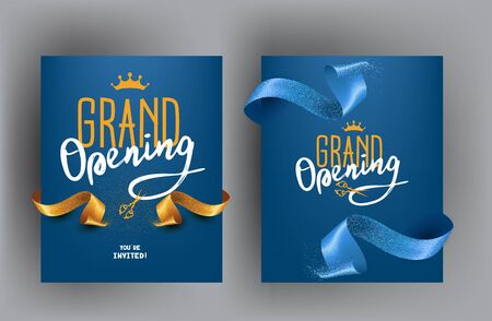 Grand opening cards with sparkling cut ribbons. Vector illustration
