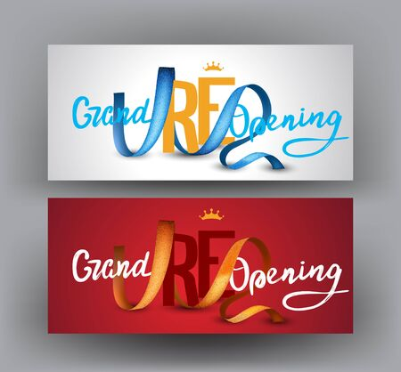 Grand opening horizontal banners with curly curly ribbons. Vector illustration Illusztráció