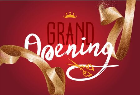 Grand opening invitation card with sparkling background and curly elegant gold ribbon. Vector illustration Illusztráció