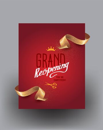 Grand reopening background with curly cut ribbons. Vector illustration