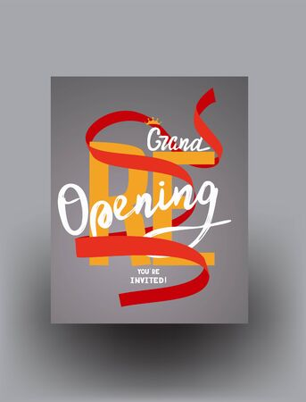 Grand reopening poster with curly ribbon and lettering. Vector illustration