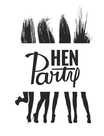 Hen Party banner with silhouettes of dancing girls. Vector illustration