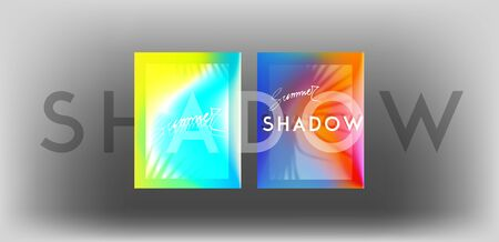 Palm tree shadows on colorful background. Vector illustration