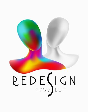 Redesign yourself slogan with 3d silhouettes of women. Vector illustration